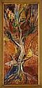 SOFIA BASSI - ASGER JORN, El árbol. Alimon Jorn - Bassi, Firmado por ambos artistas, Óleo sobre masonite. 87 x 40 cm Con certificado.