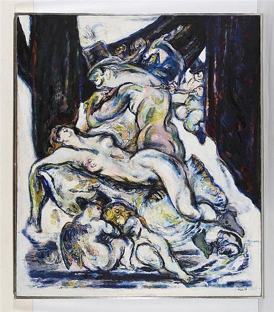 JOSÉ GARCÍA OCEJO, El lirio negro, Firmado y fechado 1996. Óleo sobre tela., 150 x 130 cm, Con certificado de autenticidad
