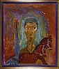 SERGIO HERNÁNDEZ, Patricia. Retrato y palmera, Firmado Oaxaca 1997. Óleo y arenas sobre tela. 230.5 x 195 cm, Con certificado.