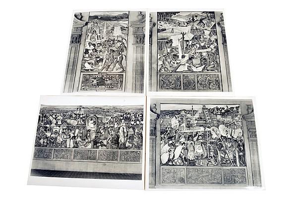 Lote de Fotografías. Guillermo Zamora (1915 - 2002). Murales del Palacio Nacional pintados por Diego Rivera. Piezas: 4