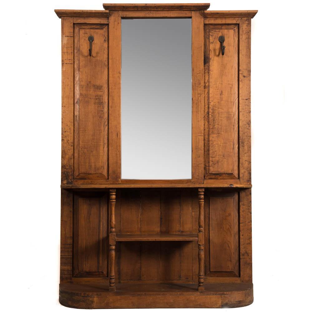 Perchero francia sxx elaborado en madera con espejo rect for Espejo rectangular