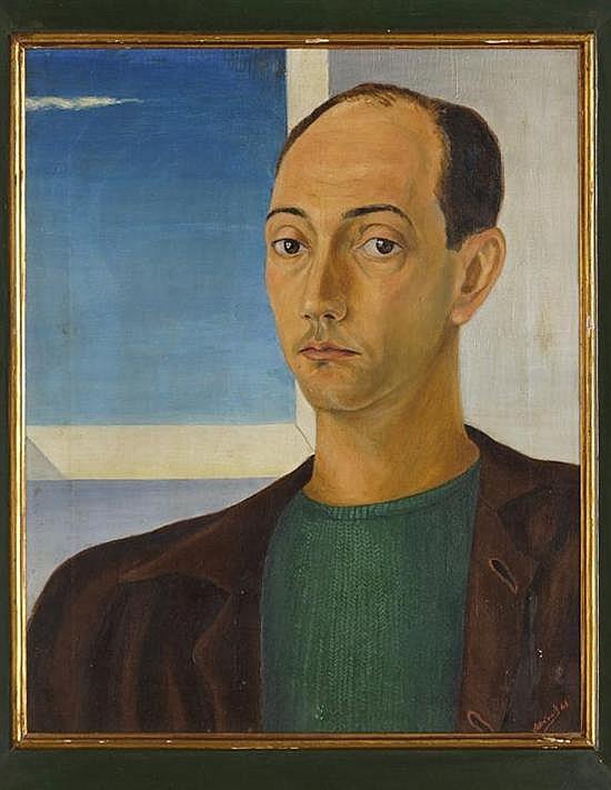 IGNACIO ASÚNSOLO, Retrato de Eugenio Villanueva Caballero, Firmado y fechado 48. Óleo sobre tela, 51 x 41 cm