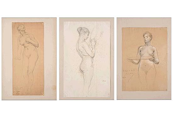 Luc-Olivier Merson (Francia 1846-1920). Tres estudios de desnudo femenino. Lápiz y pastel sobre papel. Firmados. 3 pz.