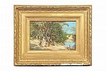 Lucien Alphonse Gros. Paseante junto al lago. Óleo sobre madera. Enmarcado. Firmado y Fechado 1872.