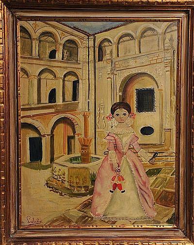 Agapito Labios Niña junto a fuente. Óleo sobre tela, firmado. Dimensiones: 59 x 45 cm.