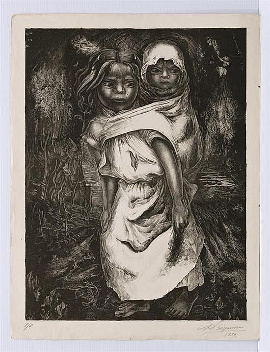 DAVID ALFARO SIQUEIROS, Niña madre, Firmada y fechada 1956. Litografía E / E, 77 x 58.2 cm