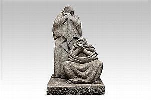 """Juan Cruz Reyes (México, 1914 - 1991). MORTON EMPEÑOS """"Dos mujeres"""". Escultura elaborada en cantera gris. Firmada. Presenta detalles de"""
