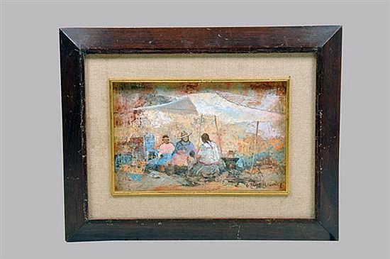 Firmado Vazquez Parra. Siglo XX. Comerciantes indígenas. Óleo sobre tela. Enmarcada, firmada, sin fecha. Detalles. 20 x 30 cm.