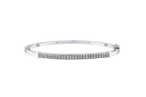 BRAZALETE CON DIAMANTES EN ORO BLANCO DE 14K. 52 Diamantes corte 8x8 ~0.42ct Peso: 11.2grs
