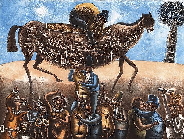 MAXIMINO JAVIER, Músicos desentonados, Firmada y fechada, 2006 Litografía, 60 x 80 cm