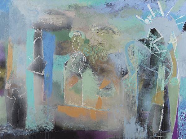 PABLO AMOR, Sin sol, y sin luna y senti, Firmado y fechado, 1996 Mixta sobre tela sobre madera, 97 x 130 cm