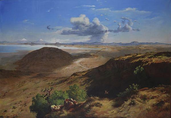 JOSÉ MARÍA VELASCO, Valle de México desde el Cerro de Santa Isabel, Sin firma,Óleo sobre tela, 160 x 226, DICTAMEN MA. ELENA ALTAMIRANO