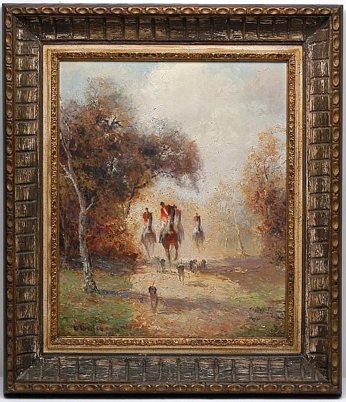 Ludwig Gschossmann (1894 - 1988). Escuela alemana. Escena de cacería. Firmado. Óleo sobre lienzo. 59 x 48 cm.