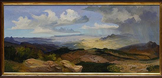 JAIME GÓMEZ DEL PAYÁN, Paisaje, Firmado y fechado 70, Óleo sobre cartón, 33.5 x 76 cm