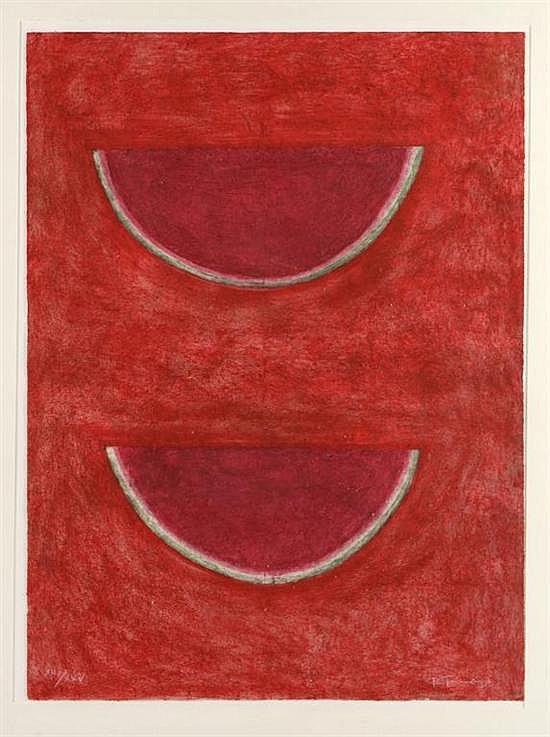 RUFINO TAMAYO, Sandías, 1977, Firmada, Mixografía XII / XXV, 74 x 55 cm, Con etiqueta de Gallery of Graphic Arts Ltd. New York.