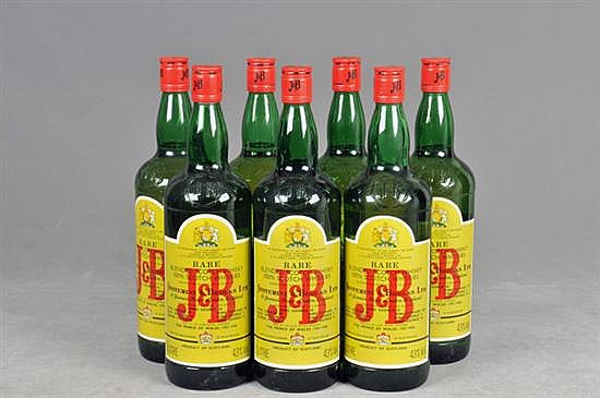 J & B. Rare Blended Scotch Whisky. 1 litro. Piezas: 7