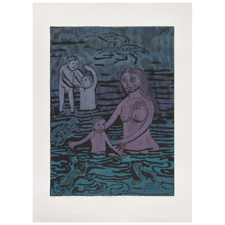 ADOLFO MEXIAC, Al agua ranas, Signed and dated 96, Woodcut 36 / 50, 60.3 x 44.5 cm / 23.7 x 17.5 inches