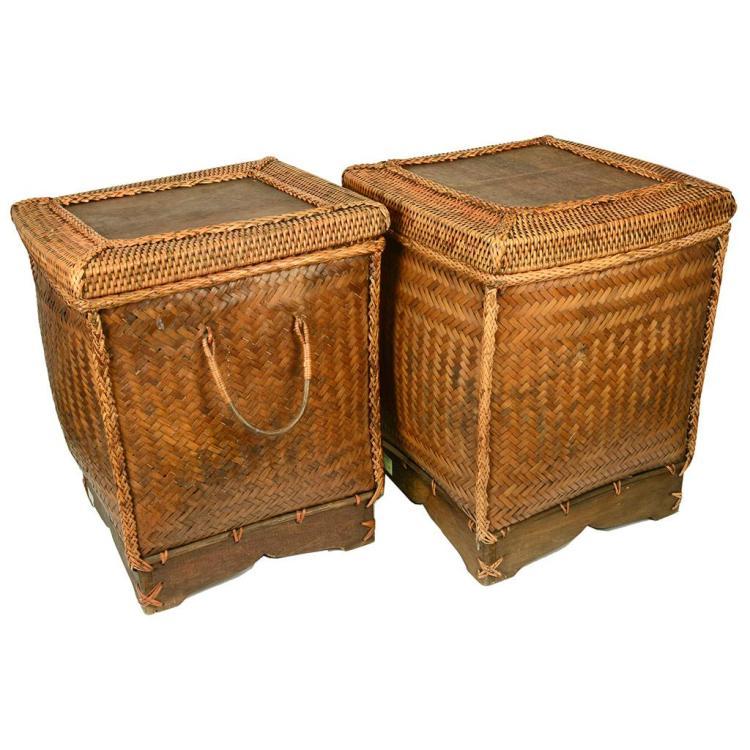 Lote de cestos siglo xx elaboradas en mimbre y palma tejid - Cestos de madera ...