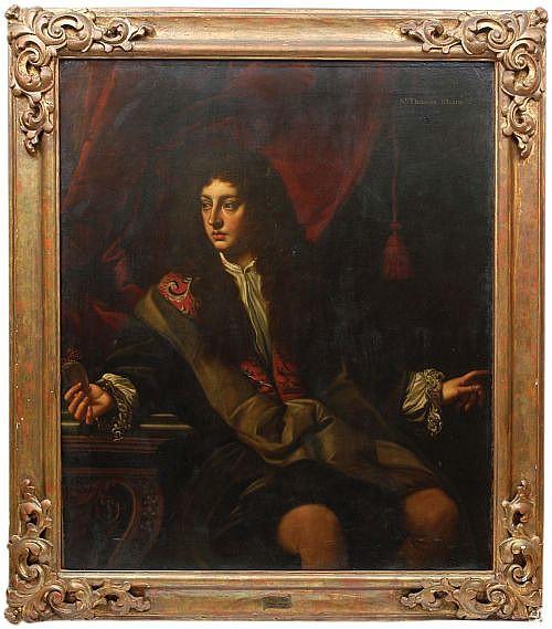 Atribuido a Charles Jervas (c.1675 – 1739). Escuela inglesa.  Retrato de Sr. Thomas Isham. Óleo sobre lienzo. 138 x 117 cm.