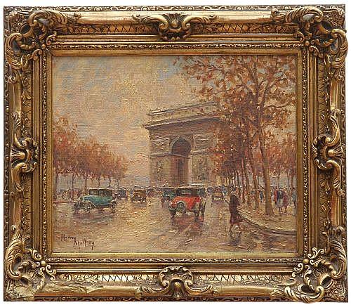 Henry Malfroy (1895 - 1944) Escuela francesa. Vista de los Campos Elíseos y el Arco del Triunfo. Firmado. Óleo sobre lienzo.
