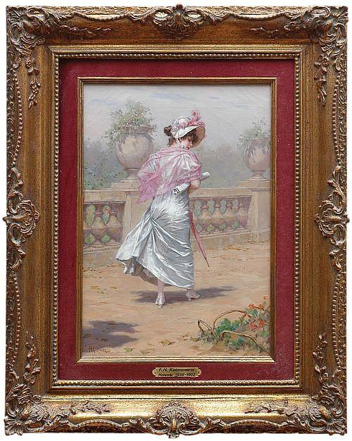 Frederick Hendrik Kaemmerer (1839 - 1902) Escuela alemana. Dama con vestido de satín blanco. Firmado. Óleo sobre lienzo.