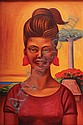 RAÚL ANGUIANO, Mascarita sonriente, Firmado y fechado 58, Óleo sobre tela, 90.5 x 60 cm., Raul Anguiano, Click for value