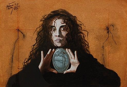 ARTURO RIVERA, El cuarto vacío, Firmado y fechado 1997, Colores al gesso sobre papel, 34.5 x 49.5 cm.