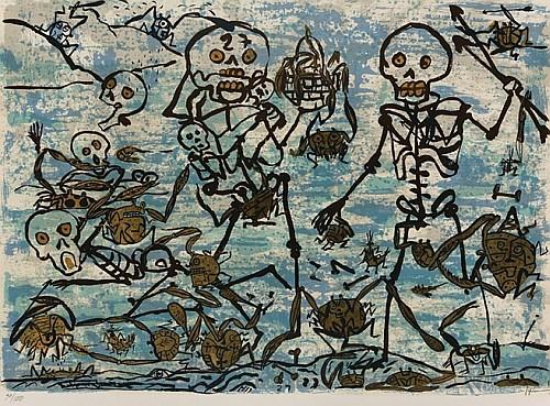 SERGIO HERNÁNDEZ, Conquistadores I, Firmada, Serigrafía 30 / 100, 58 x 78 cm.