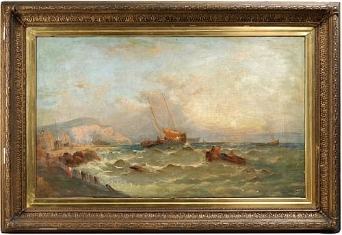 William Harry Williamson (1820 - 1883). Escuela inglesa. Pescadores cerca de la playa. Firmado. Óleo sobre lienzo. 75.5 x 125.5 cm.