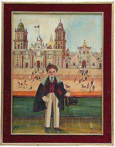 Agapito Labios, Niño catrín, Firmado, 60 x 44 cm