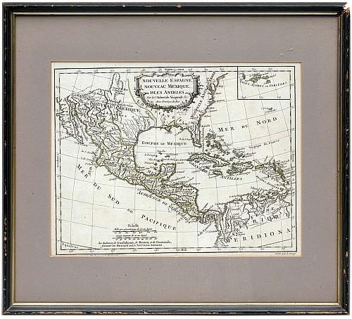 E. Dussy. Mapa de la Nueva España. Circa 1800. Grabado al aguafuerte.  25 x 33 cm.