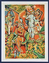 SAÚL KAMINER, Amor lejano, Firmada y fechada 94 París. Litografía 89 / 150, 63 x 47 cm