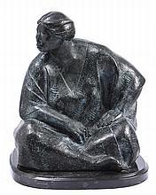 SALVADOR JARAMILLO, Mujer sentada, Firmada y fechada 1998. Escultura en bronce P / A, 40 x 36 x 34 cm