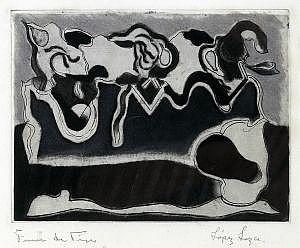 LUIS LÓPEZ LOZA, Blanco y negro, Firmado, Grabado, 15 x 20 cm