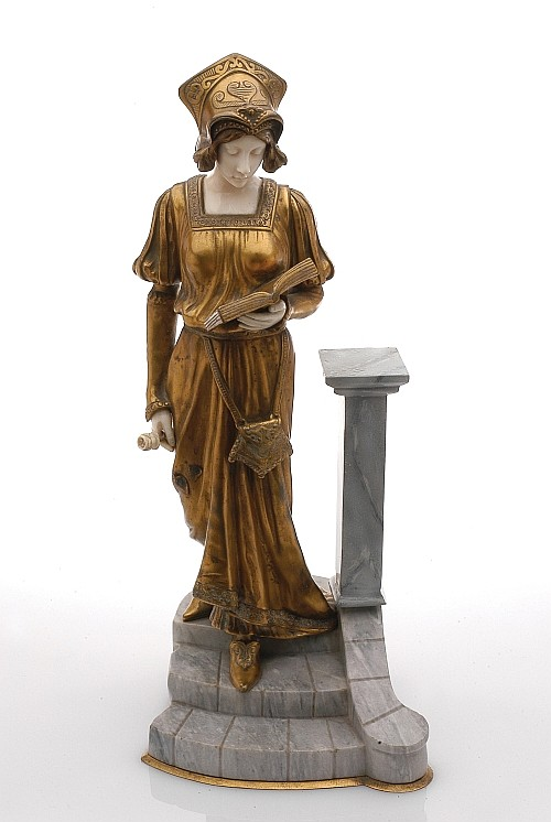 Dominique Alonzo (XIX - XX). Escuela francesa. Princesa en la escalinata. Crisoelefantina. Firmado. Base de piedra gris. 33 cm alt.
