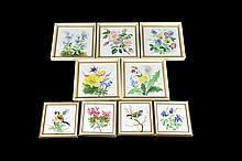 Lote de cuadros. Origen alemán. En porcelana Rosenthal. Decorados con motivos florales y animales, pintados a mano. Piezas: 9