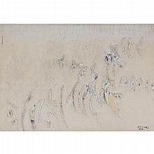 CARLOS NAKATANI, Figurado, Firmado y fechado 1976, Polvo de mármol y óleo sobre tela, 50.5 x 70.5 cm