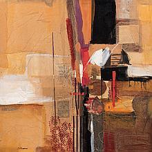 SEBASTIÁN CANOVAS, Eclipse, Firmado, Collage y mixta sobre fibracel, 100 x 100 cm