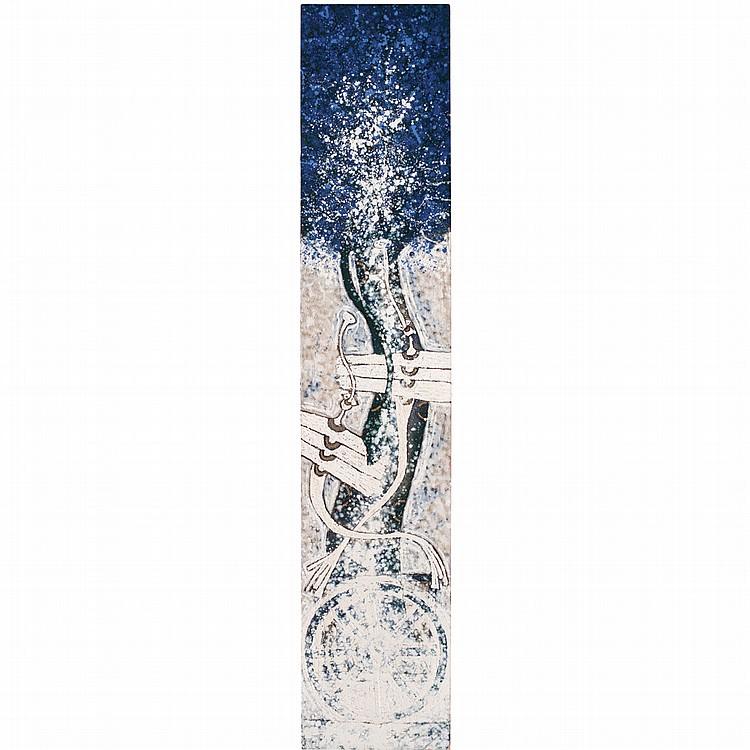 ROLANDO ROJAS, Sin título, Firmado, Óleo sobre lino, 200 x 40 cm