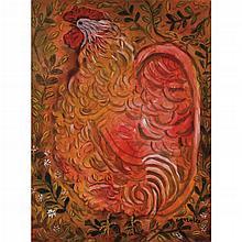 RAYMUNDO GONZÁLEZ, El gallo romántico, Firmado y fechado 71 Gouache y acuarela sobre papel, 93.5 x 69 cm