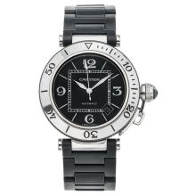 CARTIER PASHA REF. 2790 wristwatch. Steel case with steel and rubber bracelet. Automatic.