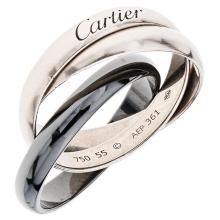CARTIER TRINITY 18K white gold and ceramics ring.