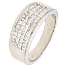 A platinum ring with 60 princess cut diamonds ~1.50 carats.