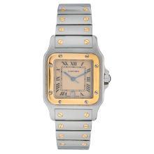CARTIER SANTOS GALBÈE wristwatch. Steel and 18K yellow gold case and bracelet. Quartz.