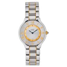 CARTIER MUST DE CARTIER 21 wristwatch. Steel and gold plate case and bracelet. Quartz.