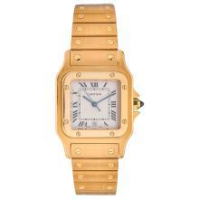 CARTIER SANTOS GALBÈE wristwatch. 18K yellow gold case and bracelet. Quartz.