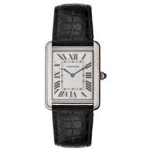 CARTIER TANK wristwatch. Steel case and leather strap. Quartz.