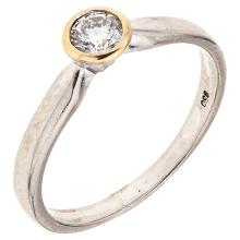 A platinum solitaire ring with 1 brilliant cut diamond ~0.19 carats.