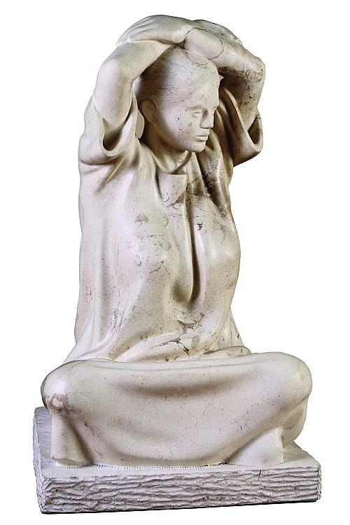 FELIPE CASTAÑEDA, Mujer, Firmado y fechado, 1985 Escultura en mármol blanco, 66 cm altura