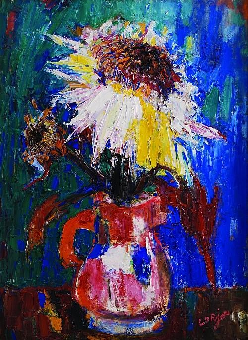 BERNARD LORJOU, Florero, Firmado Óleo sobre tela, 100 x 73 cm